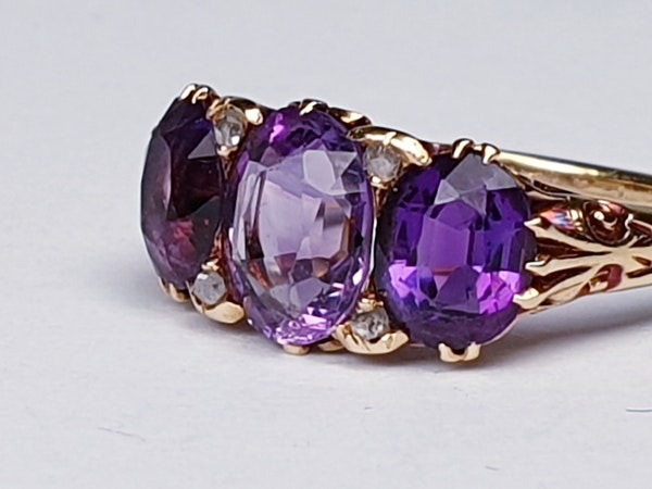 Victorian Amethyst and Rose Diamond Ring  DBGEMS - image 6
