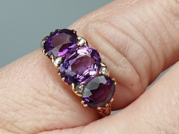 Victorian Amethyst and Rose Diamond Ring  DBGEMS - image 4