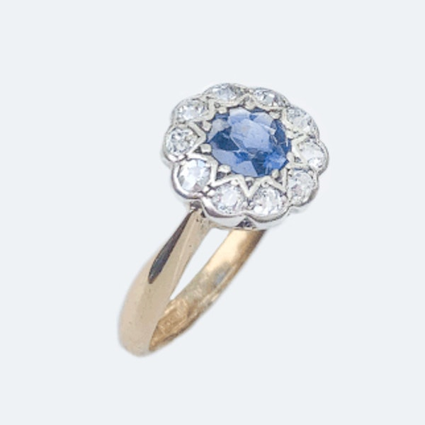 A 1910 Sapphire and Diamond Cluster Ring - image 2