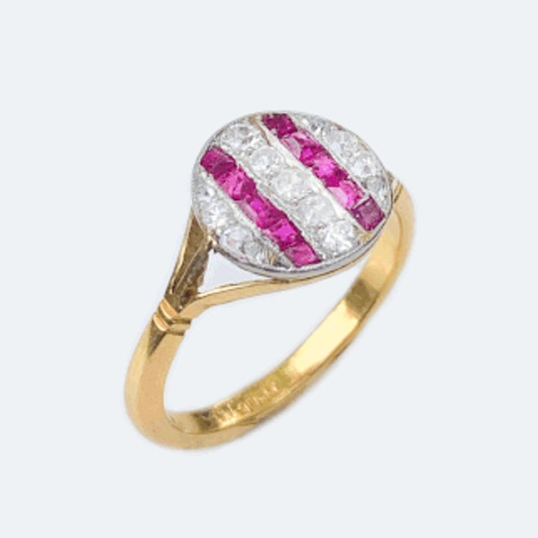 An Art Deco Ruby and Diamond Stripe Ring - image 2