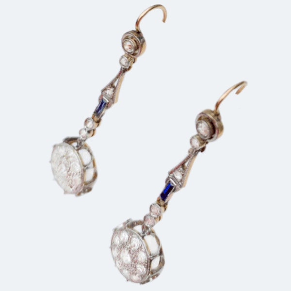 A pair of Diamond and Sapphire Earrings - image 2