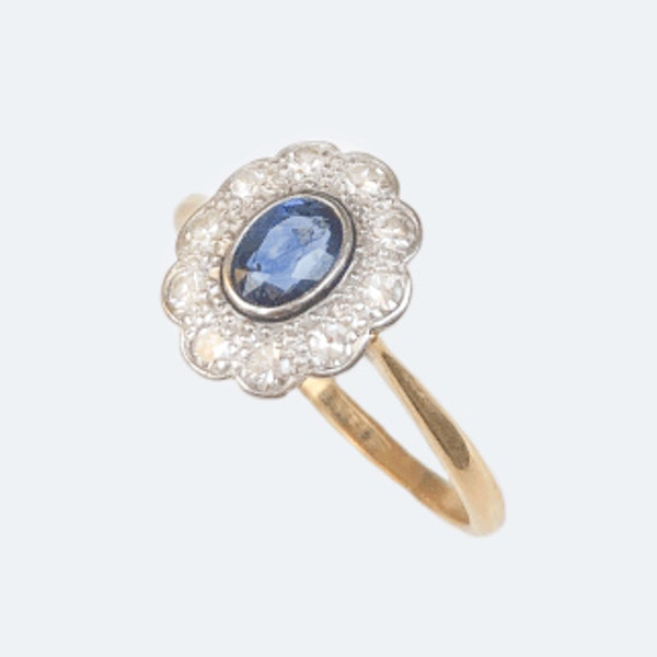 A 1910 Sapphire and Diamond Ring - image 2
