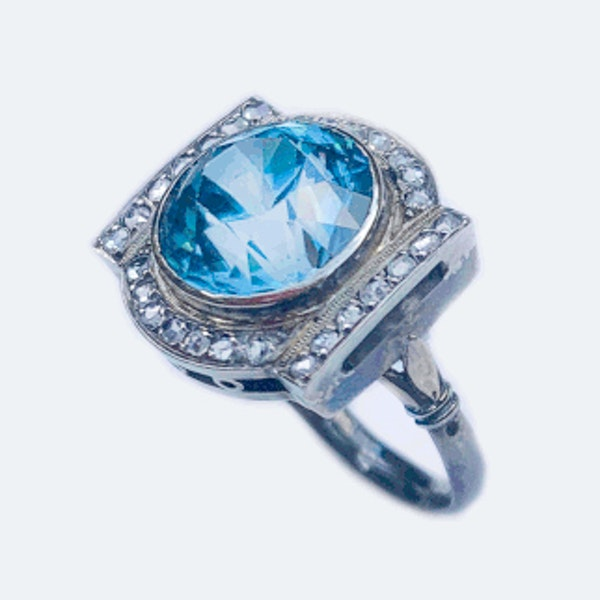 A Diamond and Blue Zircon Silver Ring - image 1