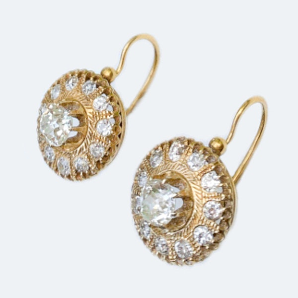 A pair of Russian Gold and Diamond Earrings - image 3