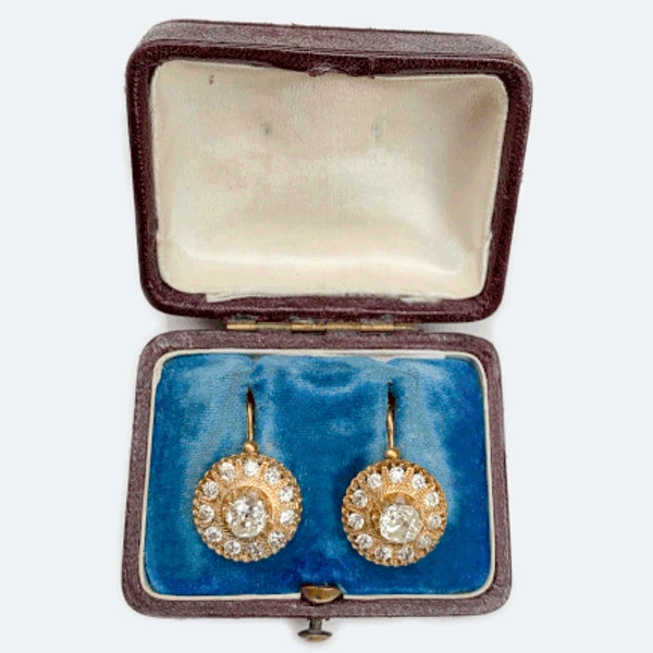 A pair of Russian Gold and Diamond Earrings - image 2