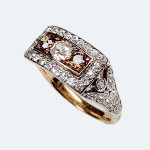 A Cognac Diamond and Diamond Gold Ring - image 2