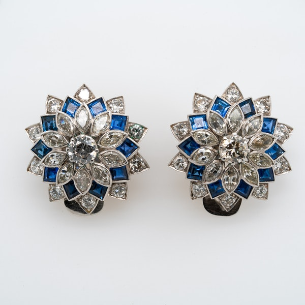 Art Deco diamond and sapphire cluster clip earrings - image 1
