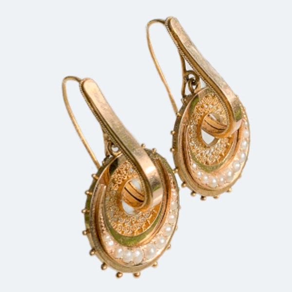 A pair of Gold and Pearl Hoop Earrings - image 2