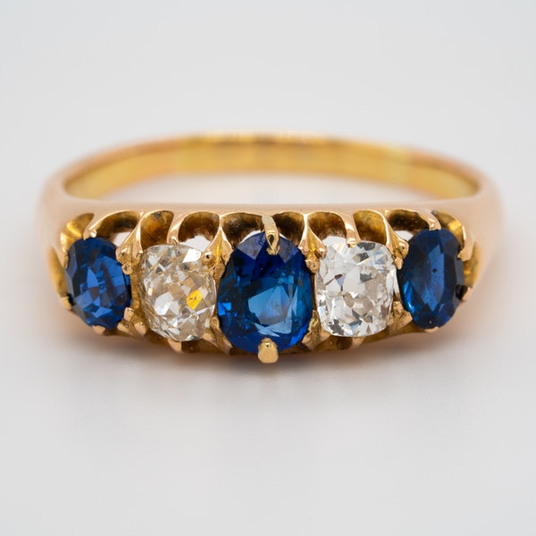 Diamond and sapphire half hoop 5 stone ring - image 1