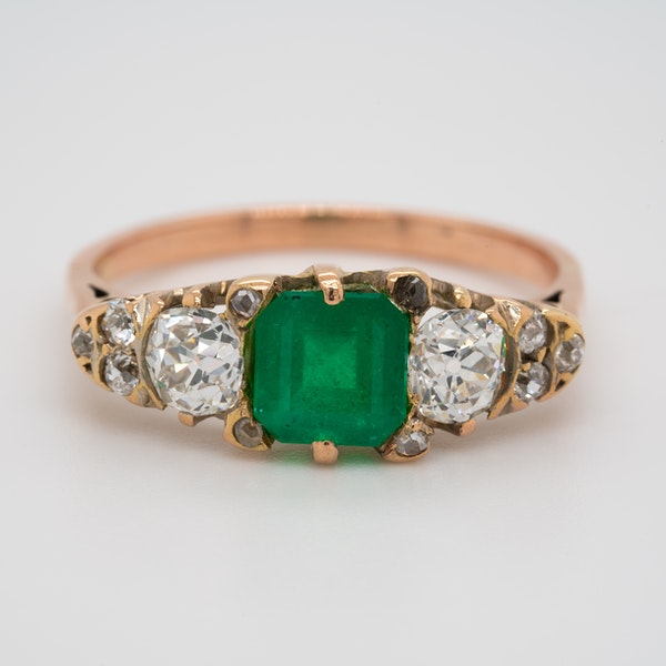 3 stone emerald and diamond ring - image 1
