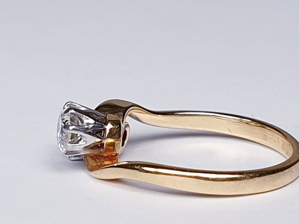 Edwardian Two Stone Diamond Cross Over Ring  DBGEMS - image 5