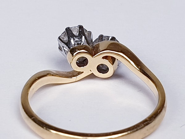 Edwardian Two Stone Diamond Cross Over Ring  DBGEMS - image 4