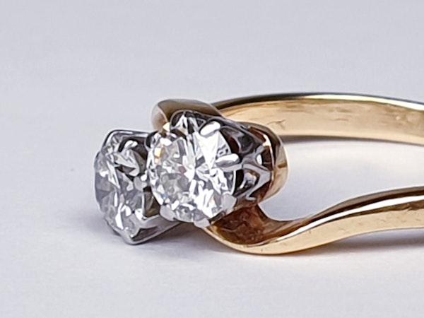Edwardian Two Stone Diamond Cross Over Ring  DBGEMS - image 2