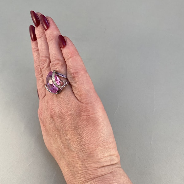 1980's, 18ct White Gold, Pink Topaz  and  Pink Sapphire  and  Diamond stone set Ring, SHAPIRO & Co - image 5