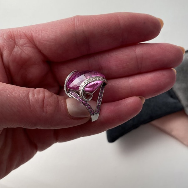 1980's, 18ct White Gold, Pink Topaz  and  Pink Sapphire  and  Diamond stone set Ring, SHAPIRO & Co - image 11