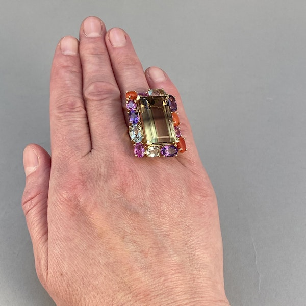 18k Yellow Gold Lamb Quartz stone (the main stone) surrounded by Pink Sapphire, Amethyst, Green Amethyst and Coral stone set Ring by Lilly Shapiro, SHAPIRO & Co - image 3