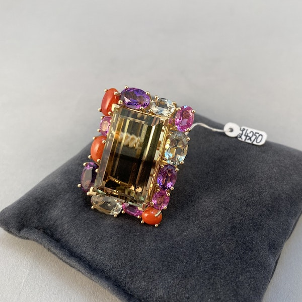18k Yellow Gold Lamb Quartz stone (the main stone) surrounded by Pink Sapphire, Amethyst, Green Amethyst and Coral stone set Ring by Lilly Shapiro, SHAPIRO & Co - image 5