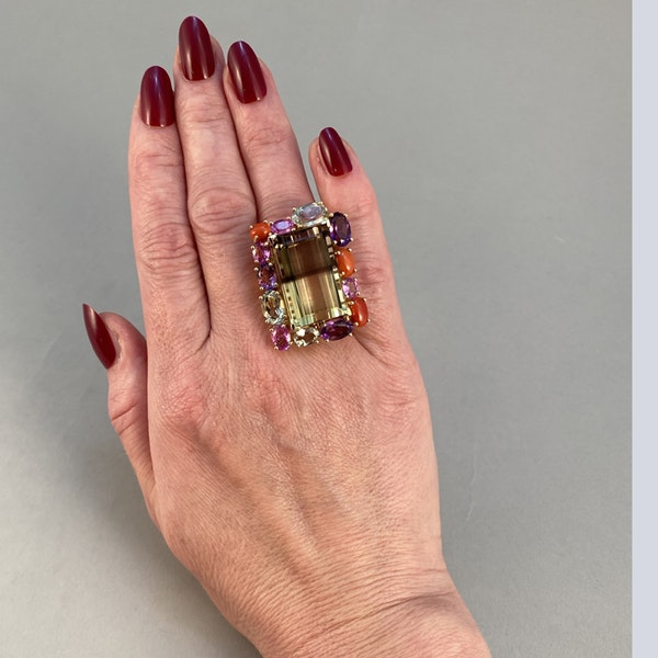 18k Yellow Gold Lamb Quartz stone (the main stone) surrounded by Pink Sapphire, Amethyst, Green Amethyst and Coral stone set Ring by Lilly Shapiro, SHAPIRO & Co - image 2