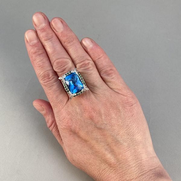 1980's, 18ct White Gold  Blue Topaz, Diamond, Sapphire and Tsavorite Green Garnet, SHAPIRO & Co - image 2