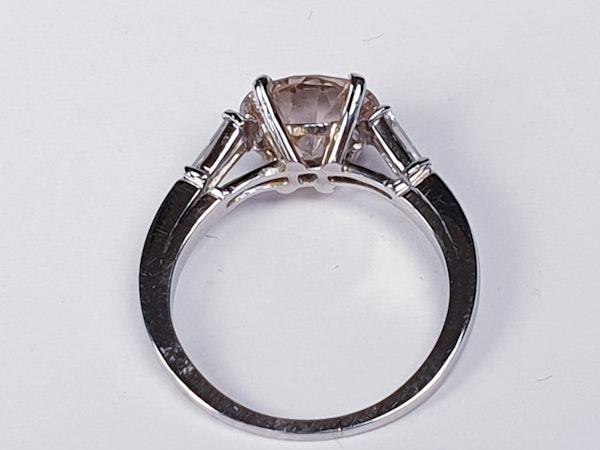 Coloured 2.47ct old European cut Diamond engagement ring  DBGEMS - image 5