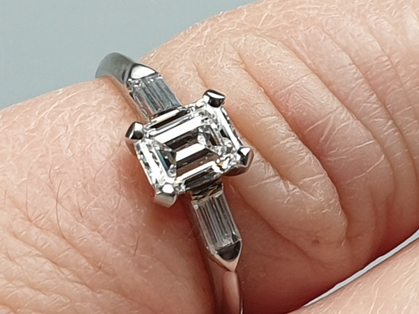 0.70ct emerald cut diamond engagement ring  DBGEMS - image 2