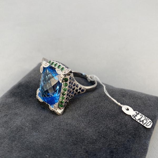 1980's, 18ct White Gold  Blue Topaz, Diamond, Sapphire and Tsavorite Green Garnet, SHAPIRO & Co - image 9