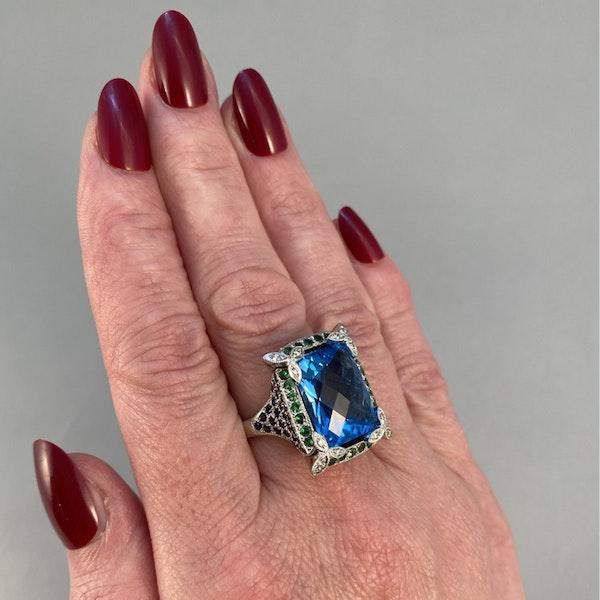 1980's, 18ct White Gold  Blue Topaz, Diamond, Sapphire and Tsavorite Green Garnet, SHAPIRO & Co - image 5