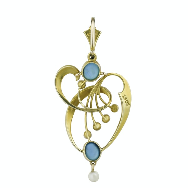 Gold Turquoise & Pearl Pendant - image 2
