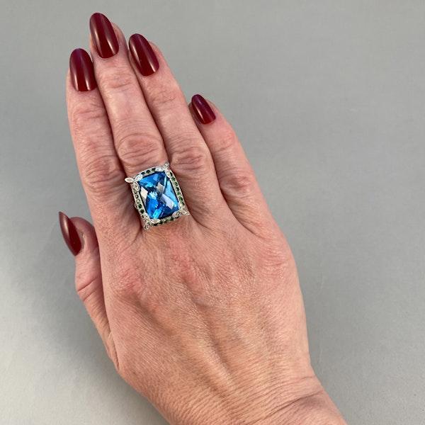 1980's, 18ct White Gold  Blue Topaz, Diamond, Sapphire and Tsavorite Green Garnet, SHAPIRO & Co - image 4