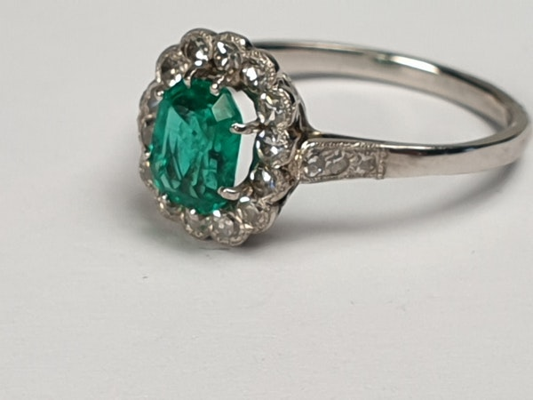 Art deco emerald and diamond engagement ring  DBGEMS - image 2