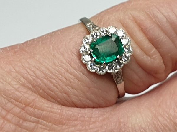 Art deco emerald and diamond engagement ring  DBGEMS - image 3