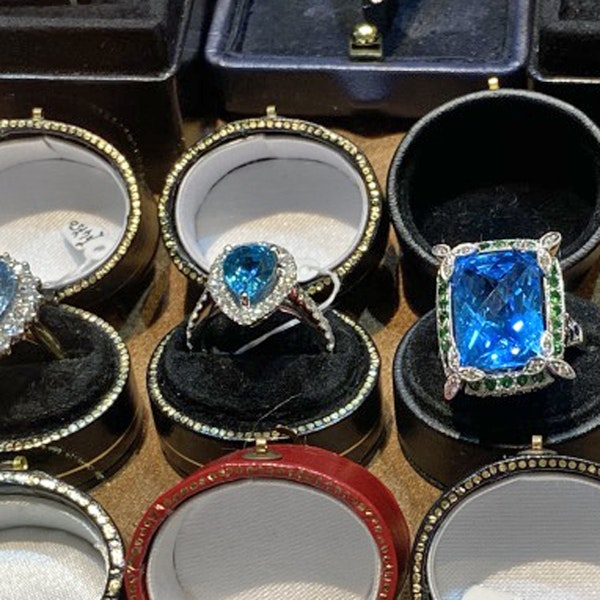 1980's, 18ct White Gold  Blue Topaz, Diamond, Sapphire and Tsavorite Green Garnet, SHAPIRO & Co - image 10
