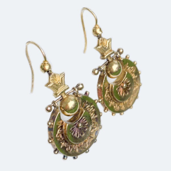 A pair of Gold Drop Earrings - image 2