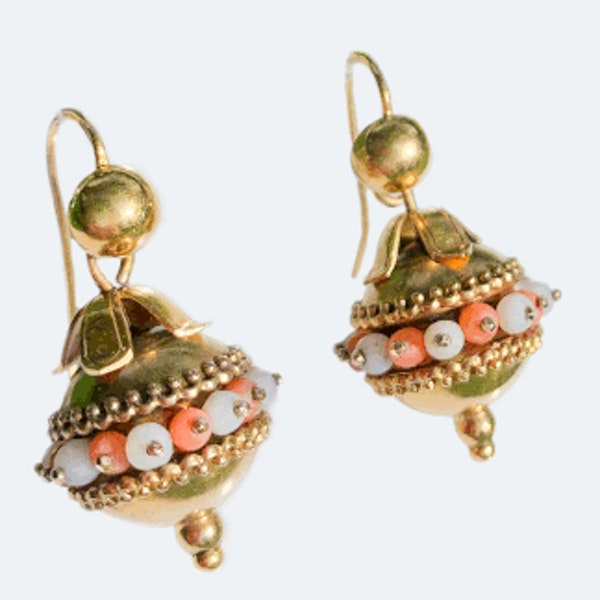 A pair of Gold and Coral Drop Earrings - image 2