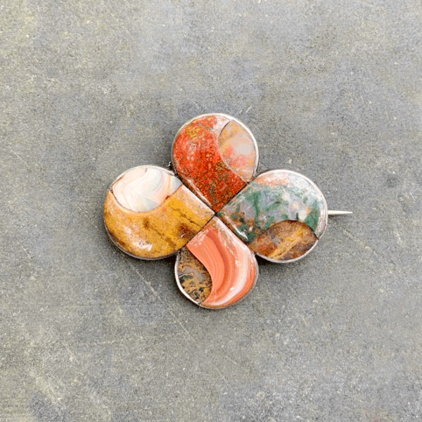 A Scottish Agate and Silver Brooch - image 1