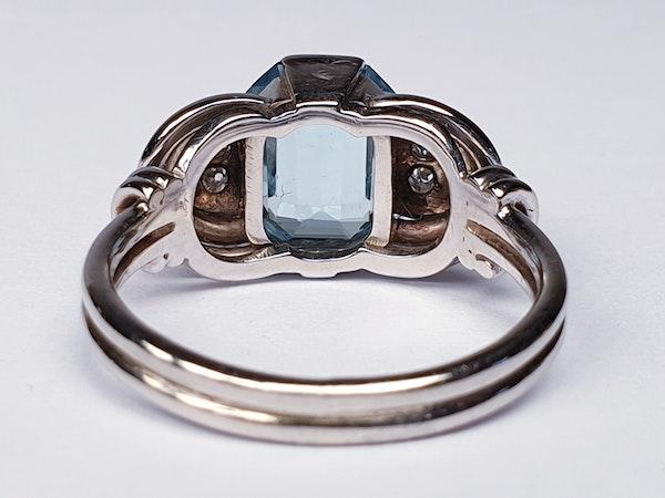 Stylish 1930's Aquamarine and Diamond Ring  DBGEMS - image 3
