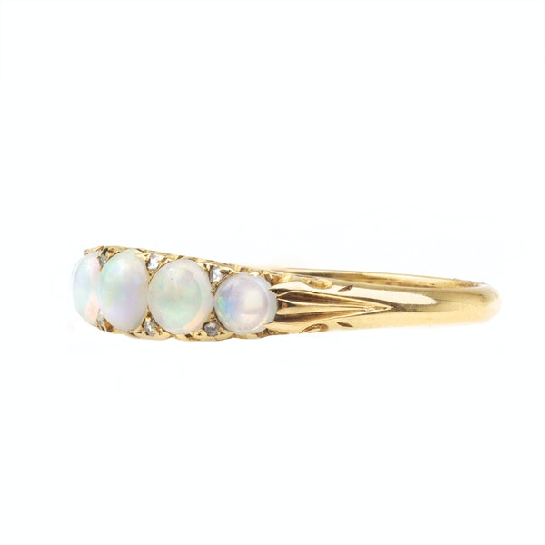 An 1890 Opal and Diamond Ring - image 2