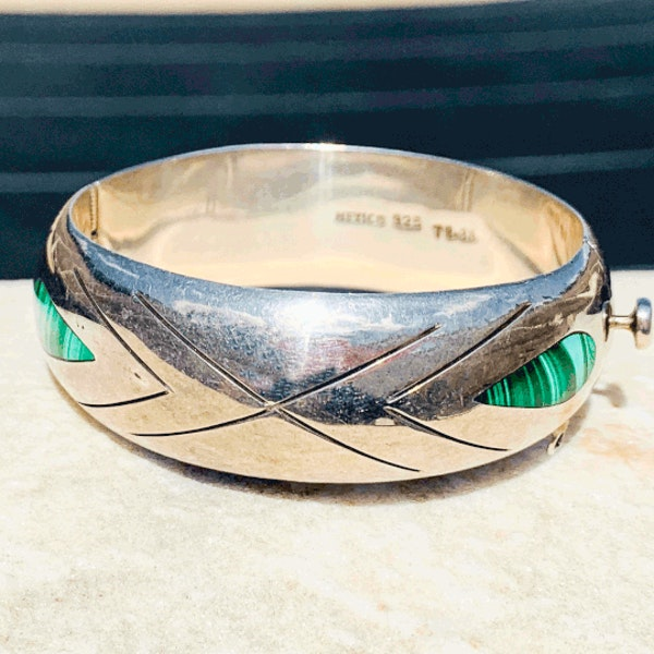 A Mexican Taxco Silver Malachite Bracelet by William Spratling - image 4