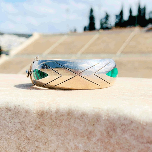 A Mexican Taxco Silver Malachite Bracelet by William Spratling - image 1