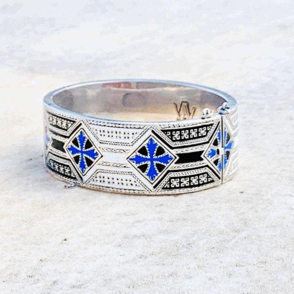 A Mexican Silver Enamel Bangle - image 2