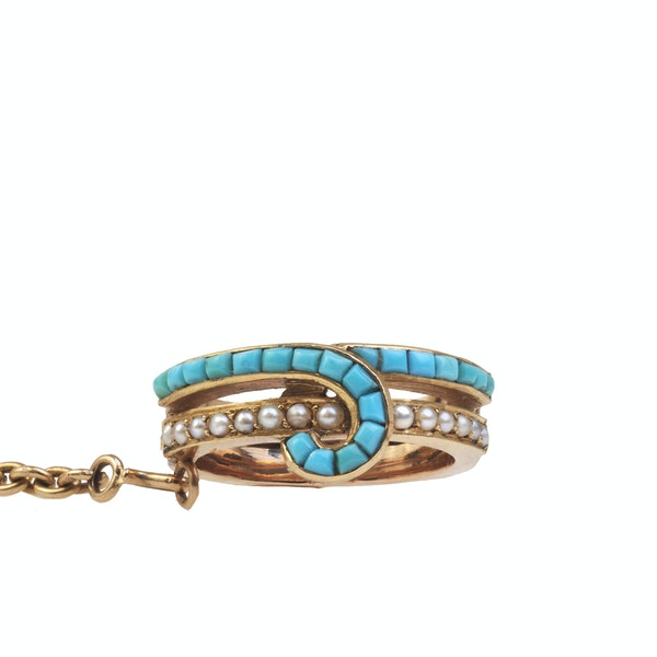 A French Turquoise and Pearl Gold Bracelet and Ring - image 2