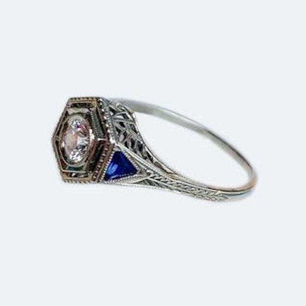 A Hexagonal Diamond and Sapphire Ring - image 2