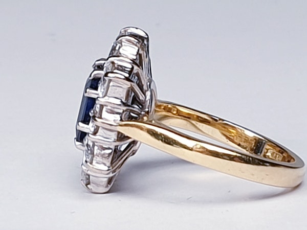 Antique Sapphire and Diamond Cluster Ring  DBGEMS - image 3