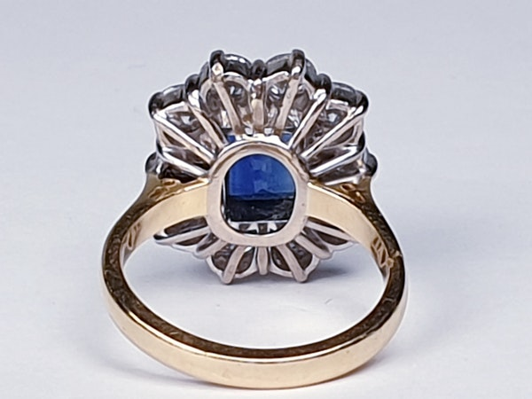 Antique Sapphire and Diamond Cluster Ring  DBGEMS - image 2