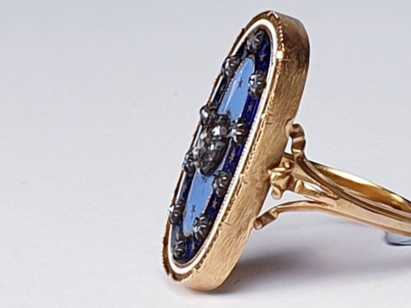 Enamel and Diamond Ring circa 1830  DBGEMS - image 4