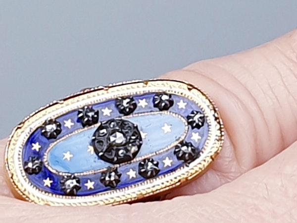 Enamel and Diamond Ring circa 1830  DBGEMS - image 2