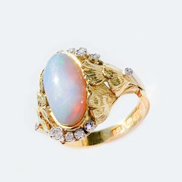 A 1940s Opal Diamond Gold Ring - image 2