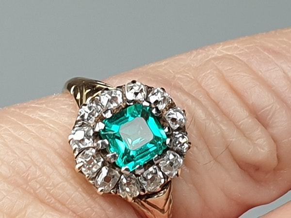 Antique Emerald and Diamond Cluster Engagement Ring  DBGEMS - image 3