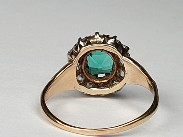 Antique Emerald and Diamond Cluster Engagement Ring  DBGEMS - image 4