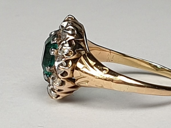 Antique Emerald and Diamond Cluster Engagement Ring  DBGEMS - image 5